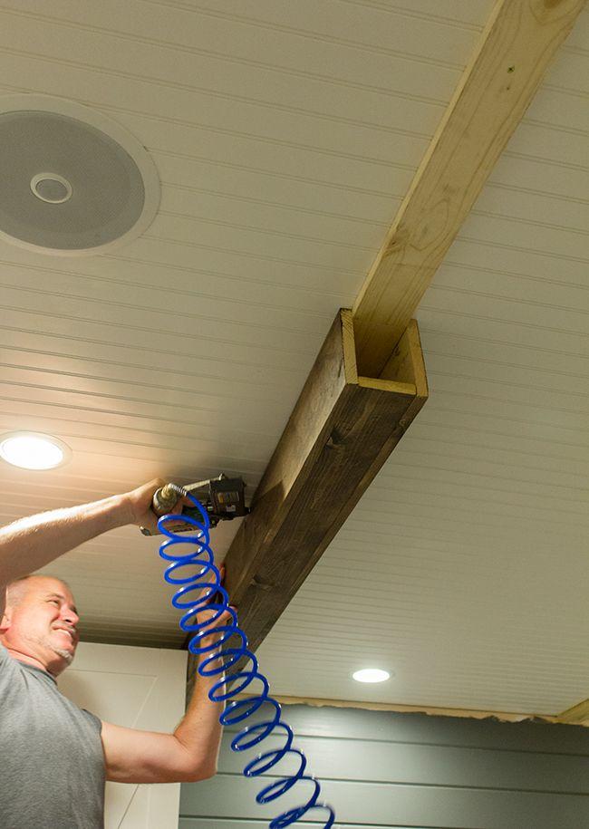 Имитацией балок на потолке своими руками