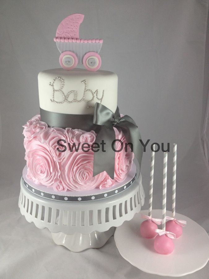 gray and pink baby shower cake baby shower cakes pinterest