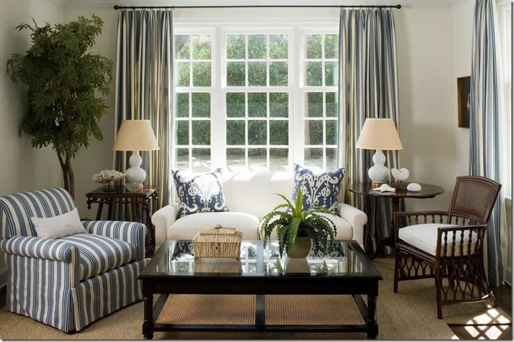 triple window w/ curtains...family room | New House Ideas | Pinterest
