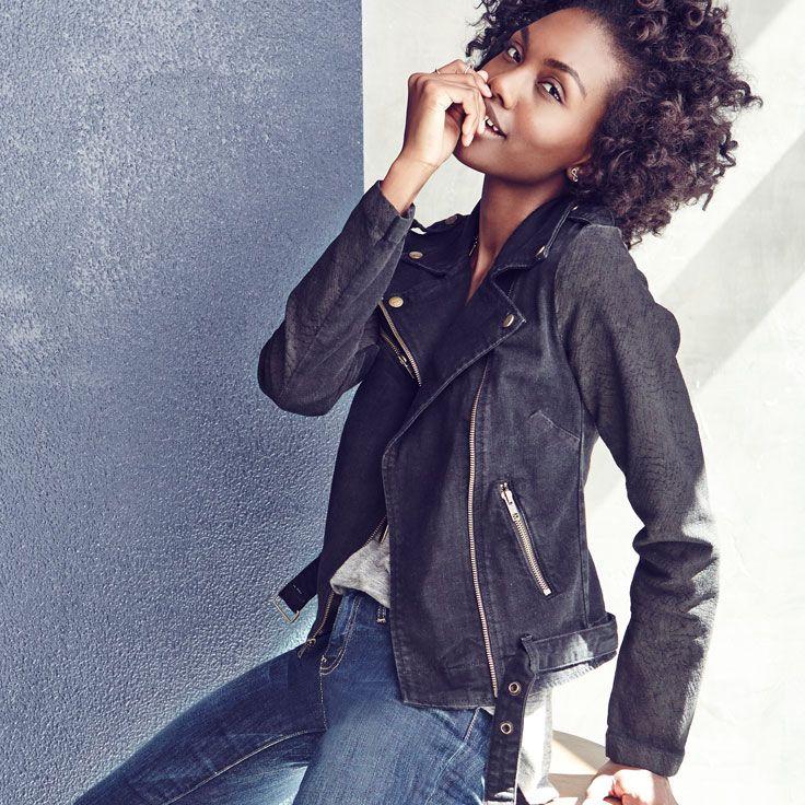 Go two-tone. Wear a black jean jacket with blue jeans.
