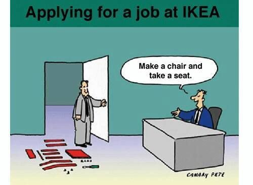 brilliant ikea job interview too funny pinterest. Black Bedroom Furniture Sets. Home Design Ideas