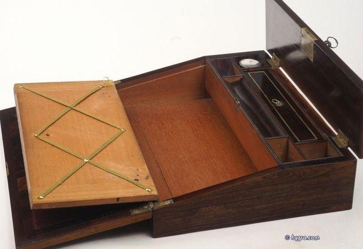 vintage lap desk for letter writing inkwells pens With antique letter writing desk