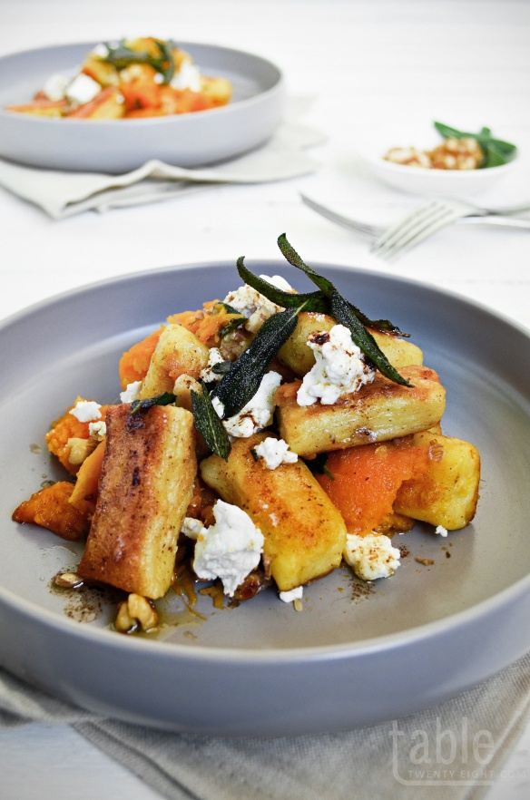 Pan-fried Gnocchi with Roast Pumpkin, Goat's Cheese & Candied Wa