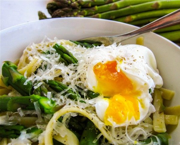 Asparagus and Poached Eggs over Pasta | Recipe
