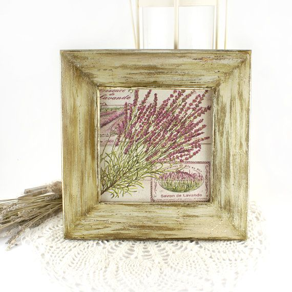 Rustic French Wall Decor : French country style essence of lavender wooden panel
