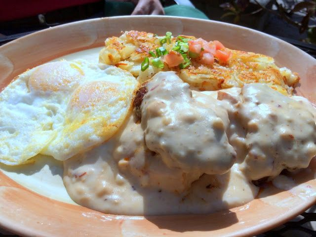 Chipotle-infused gravy atop biscuits & chorizo with hash browns and ...