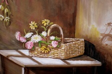 Basket of Flowers 11x14 framed in quality wood