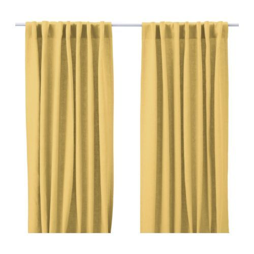 Yellow linen for dining room curtains room inspiration - Yellow dining room curtains ...