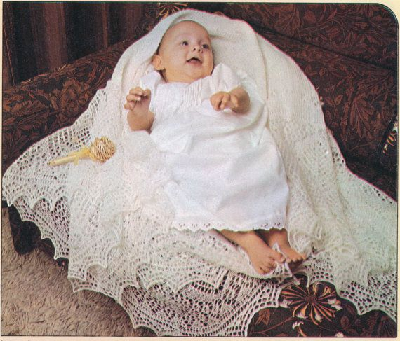 Knitting Pattern For Bay Shawl : Gorgeous Vintage Retro 1960s SHETLAND LACE Baby Shawl Knitting Patter?