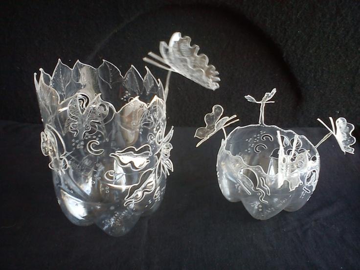 Plastic bottle art plastic art pinterest for Plastic bottle art