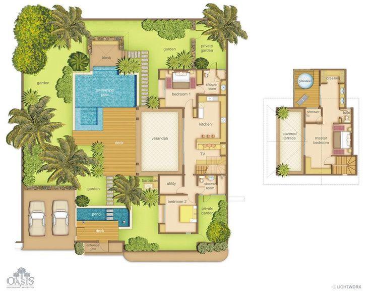 Plan Villa De Luxe  Tropical home plan Tropical home Pinterest