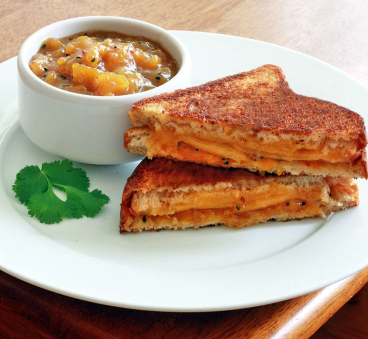Grilled Cheese & Chutney Sandwiches. Grilled sandwiches with oozing ...