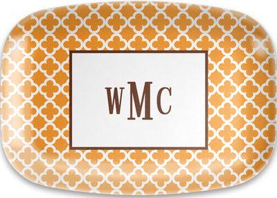 Tangerine Bristol Tile Melamine Platter