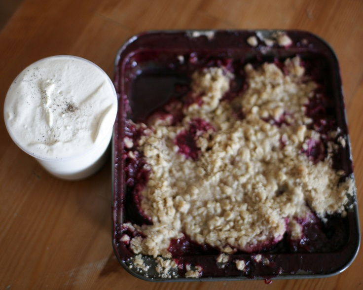Plum Crumb. black pepper ice cream with a plum crumble