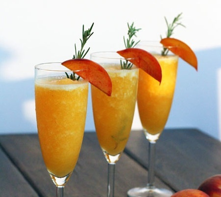 Rosemary Infused Frozen Peach Bellini | Peaches n Honey | Pinterest