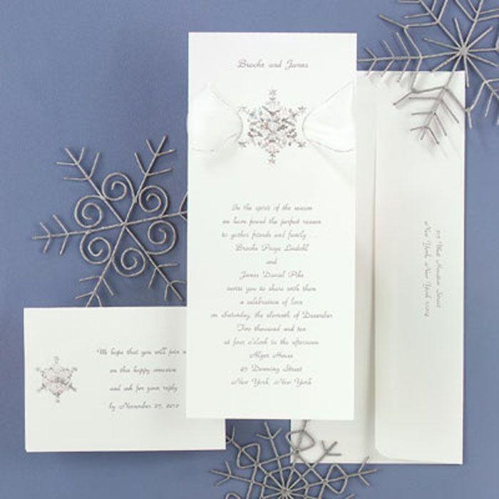 Winter Wedding Invitations Snowflake Shimmer Set