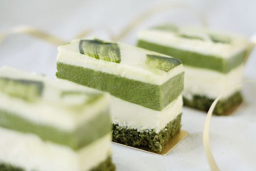 Matcha and white chocolate mousse cake by andrea ♥, via Flickr