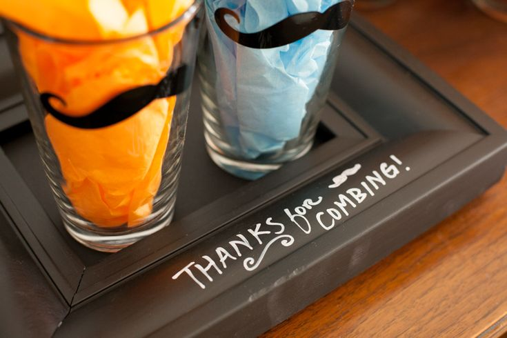 Mustache Baby Shower - give mustached pint glasses as party favors!