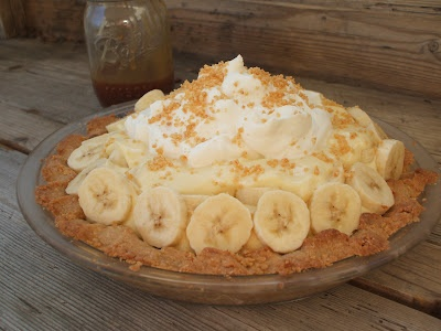 banana cream pie with peanut crust and salty bourbon caramel