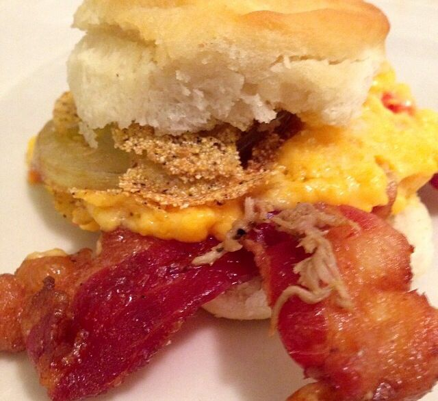 fried green tomato + pimento cheese + bacon biscuit ️