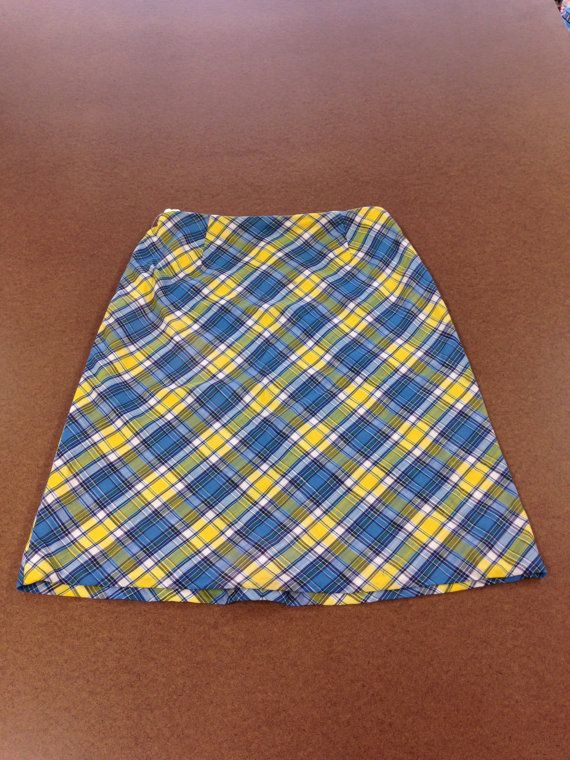 yellow and blue plaid skirt