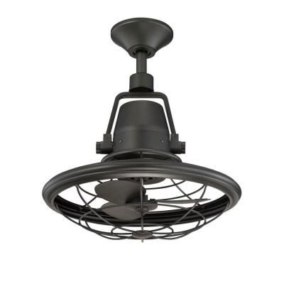 Bentley II 13 in. Indoor/Outdoor Natural Iron Oscillating Ceiling Fan with Wall Control
