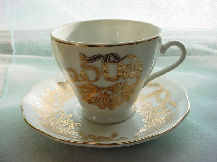 ... 50th Silver Wedding Anniversary Cup & Saucer Set Japan Gift Idea