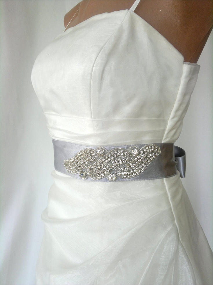 Elegant rhinestone beaded grey wedding dress sash belt for Rhinestone sash for wedding dress
