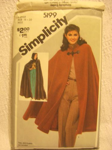 Womens Clothing Pattern Cape With Hood Option SIMPLICITY 5199 Size L