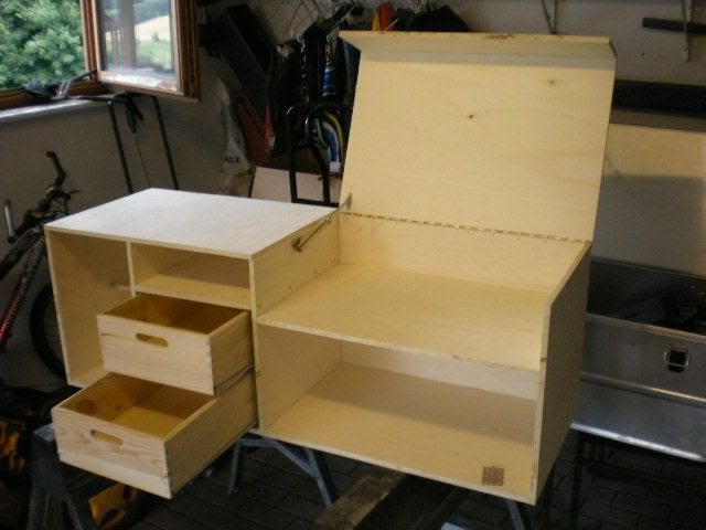 Pin by jaygermeister on camping chuck box project for Wooden camp kitchen designs