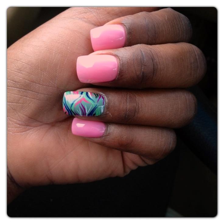 Spring freehand nail design   MANI PEDI PRETTIES
