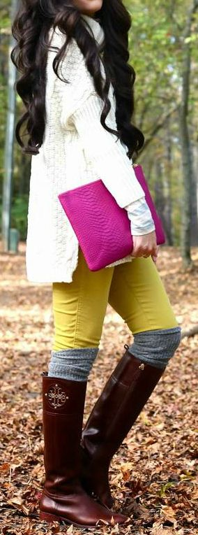 Cardigan,Handbag,jeans and Knee Long Boots