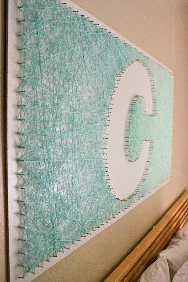 Initial String Artwork DIY by Claire Zinnecker   Camille Styles