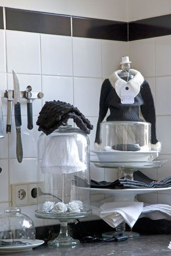 Zwart-witte keuken  keukens keukentegels cafevloeren  Pinterest