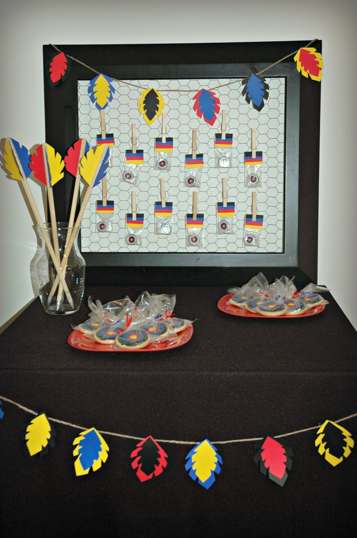 Archery Party Favors - target cookies & necklaces