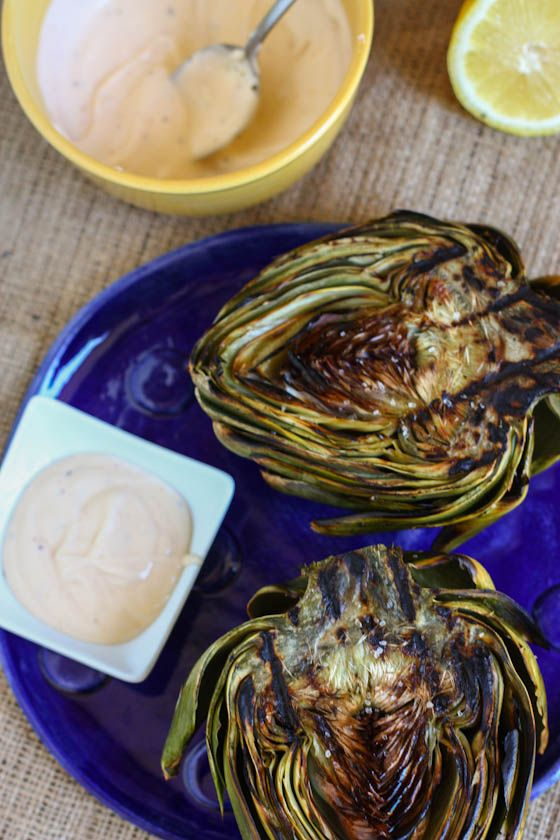 GRILLED ARTICHOKES WITH SPICY LEMON AIOLI http://www.eatliverun.com ...