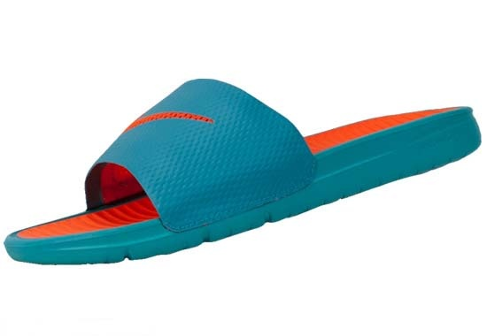 Nike Benassi Solarsoft Slides Sport Turquoise with Orange: pinterest.com/pin/282319470363810075