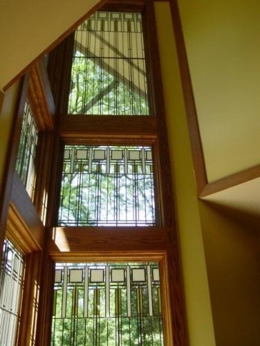 art glass windows / oak trim