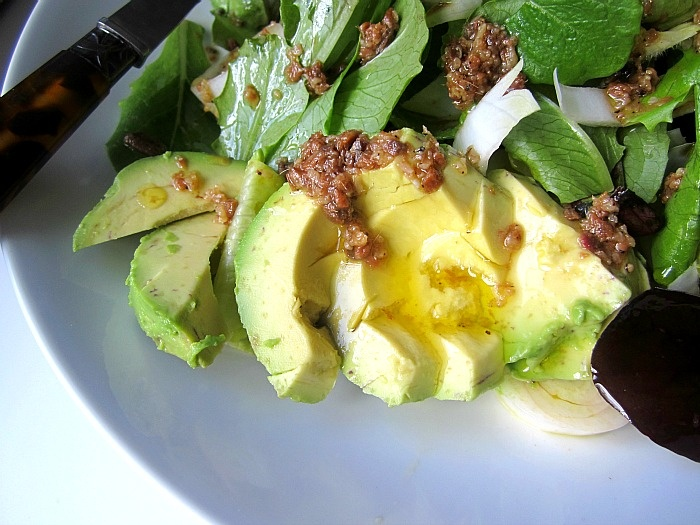 Salad with Avocado and Bagna Cauda Dressing