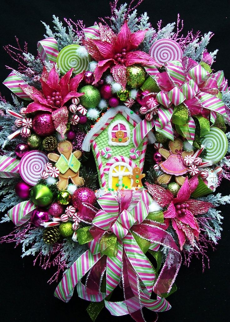 Xl gingerbread house christmas wreath created in hot pink for Christmas wreath