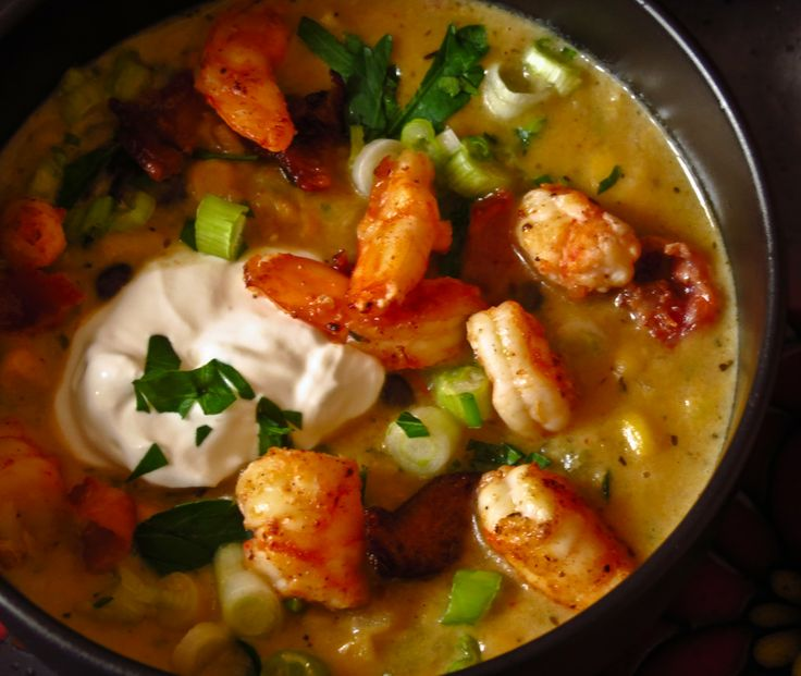 Shrimp And Roasted Corn Chowder Recipe — Dishmaps