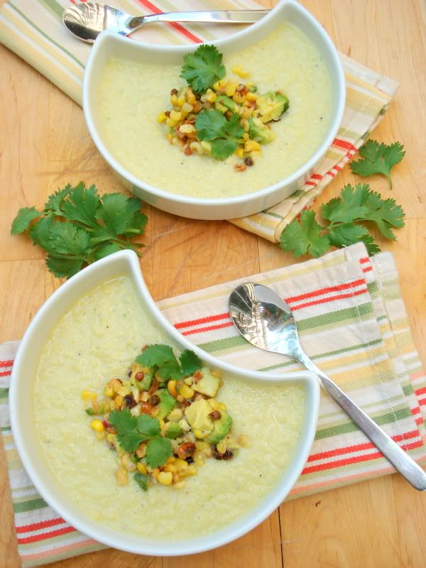 Fresh Tomato Soup With Roasted Corn Guacamole Recipes — Dishmaps