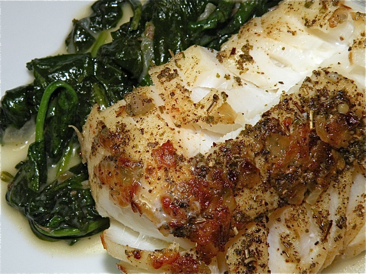 Sauteed Cod with Garlic-Shallot Butter and Drunken Spinach | The ...