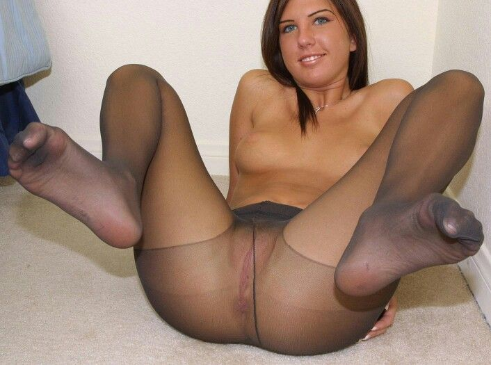 Naked Gorgeous Women Wearing Nylon Stockings -