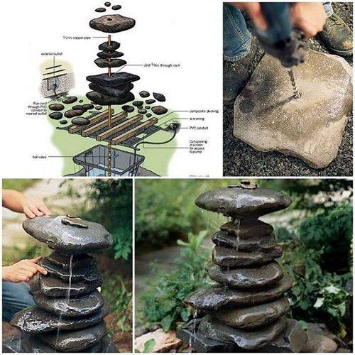 Homemade water fountain gardens pinterest Home made water feature