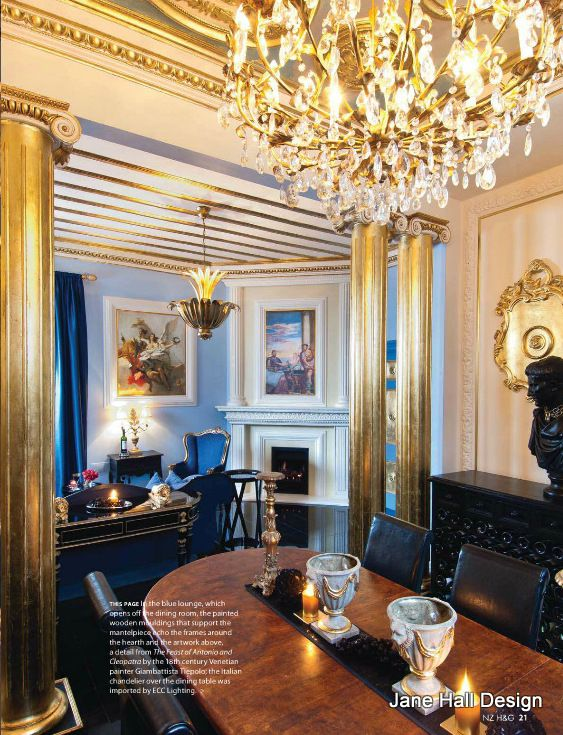 Modern glamour living room in cornflower blue walls and gilded gold