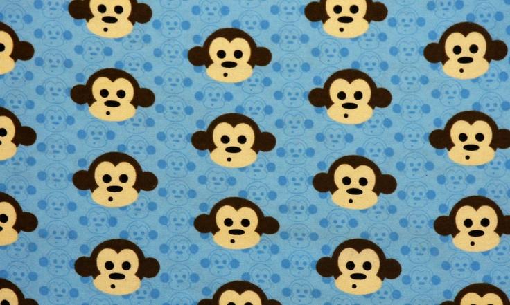 Monkey flannel fabric monkeys brown aqua blue tan white for Baby monkey fabric prints