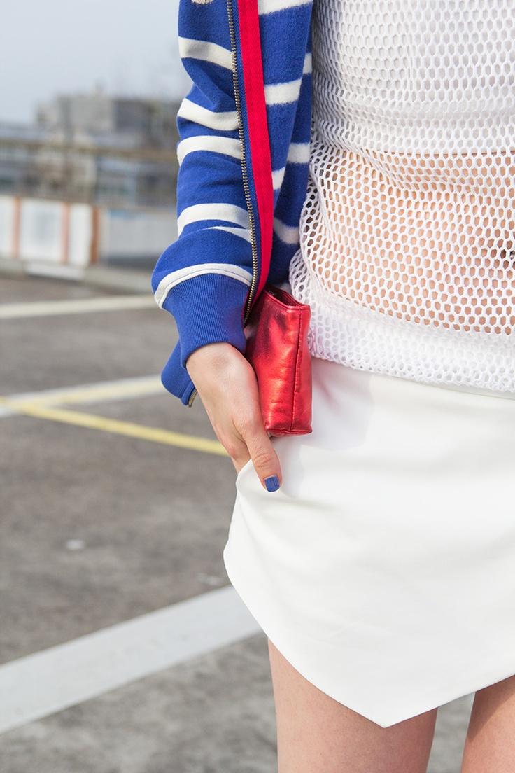 ◄Rock My Heels► — Fashion | DIY | Trends | OOTD | Shoes: OOTD - nautical striped hoodie, Zara skort, H fishnet tank, H white wedge ankle booties, blue, red