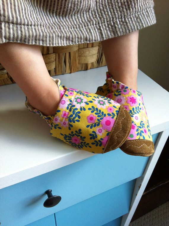 Soft Soled Baby Shoes Flowers on yellow by ParkerAndPosie on Etsy