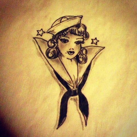 sailor jerry pinup flash  Sailor girl tattoo sketch (Sailor